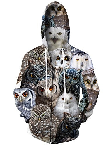 Uideazone Teen All Over Printed Animal Owl Zip Up Hoodie