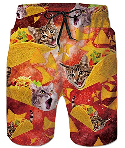 5cccd54b06 Uideazone Taco Pizza Cat Swimming Trunks Casual Style Swim Shorts