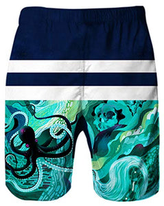 Uideazone 3D Geometric Graphics Octopus Swimming Shorts