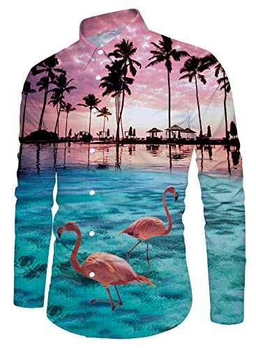 Palm Tree Flamingos Hawaiian Button Down Long Sleeve Shirts