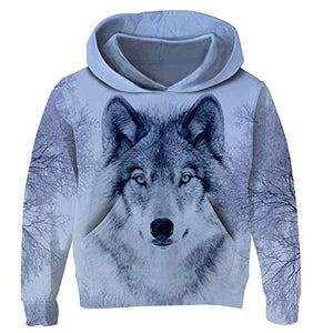 Uideazone Boys Hipster Printed Snow Wolf Hoodie