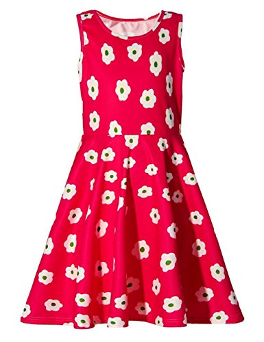 Girl Floral Sleeveless Round Neck Basic Daily Dress