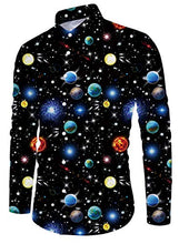 Load image into Gallery viewer, Men Casual Galaxy Printed Long Sleeve Button Down Shirt