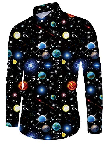 Men Casual Galaxy Printed Long Sleeve Button Down Shirt