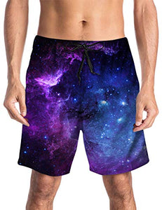 3D Galaxy Printed Funny Swim Quick Dry Shorts Trunks