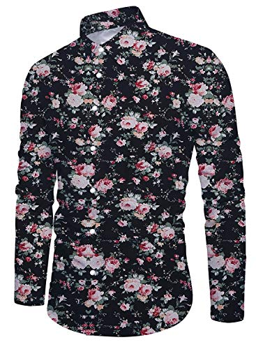 Casual Button Down Hawaiian Tropical Floral Long Sleeve Shirt