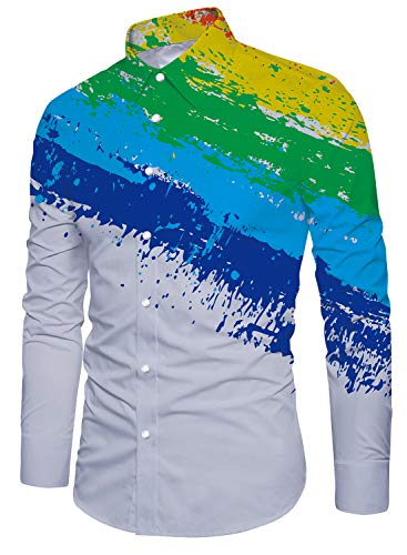 Men's White Pigment Dyed Printed Slim Long Sleeve Shirt