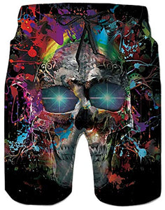 Men Fast Drying Splash Skull Summer Casual Swim Shorts Trunks
