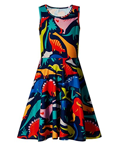Little Girls Print Dinosaur Summer Sleeveless Dresses