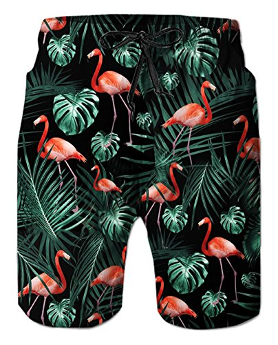 Uideazone Flamingos Printed Surf Board Boxer Shorts Trunks