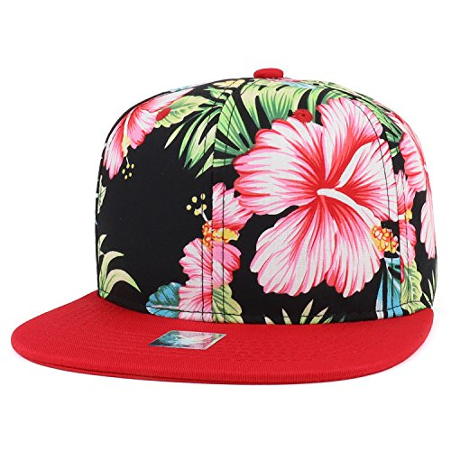 Trendy Tropical Flower Hibiscus Flat Bill Snapback Hat