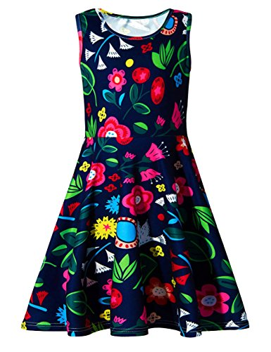 Uideazone Girls Wedding Party Floral Sleeveless Dress
