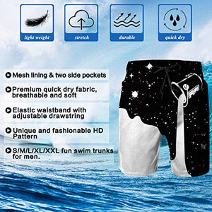 Uideazone Funny Swimming Beach shorts 3D Printed Milk Swimwear