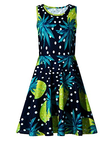 Girls Pineapple Sleeveless Sundress for Party 4-5 Years