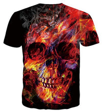 Load image into Gallery viewer, Short Sleeve Top Summer Skull Smoke Printed T-Shirt