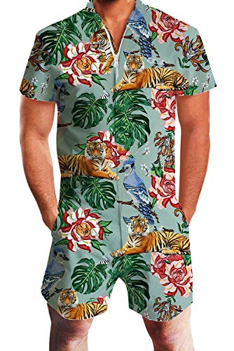 Design Unisex Floral Tiger Pattern Funny Zip up Romper