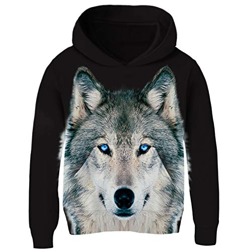 Uideazone Kids Print Wolf Face Pullover Hoodie