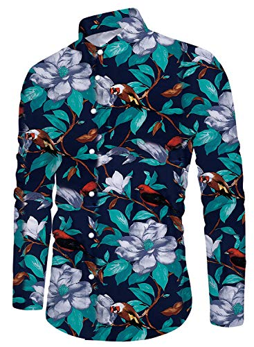 Mens Classic Bird Flower Button Down Club Long Sleeve Shirts