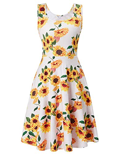 Women Sleeveless Beach Casual Flared Floral Tank Dress