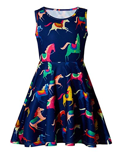 Little Girls Unicorn Cute Funny A-Line Sleeveless Dress
