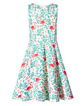 Load image into Gallery viewer, Kids Girls Print Flamingos Floral Cute Sleeveless Dress