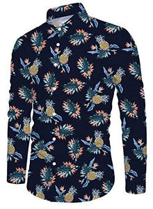 Men's Pineapple Floral Print Long Sleeve Button Down Shirt