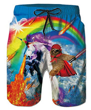 Load image into Gallery viewer, Swim Trunk Quick Dry Sloth Unicorn Beach Shorts Trunks
