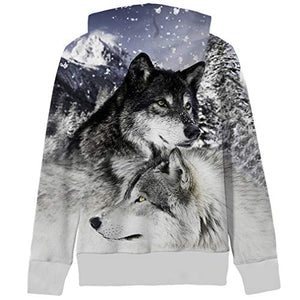 Uideazone Teen Boys Girls 3D Printed Animal Wolves Zipper Hoodie Sweatshirt Casual Autumn Winter Jacket Coat Wolf4 Small