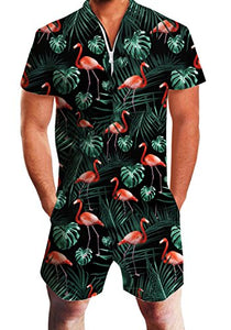 Design Unisex One Piece Zip Short Sleeve Pants Rompers