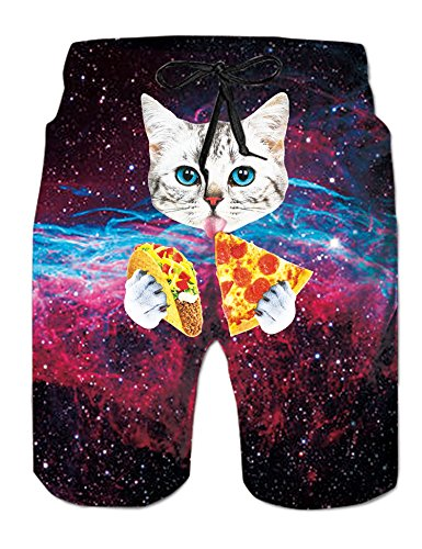 adec13327c Uideazone Pizza Cat Beach Shorts Funny Swimwear