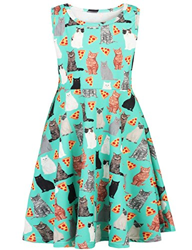 Kids Girls Pizza Cats Kittens Round Neck Sleeveless Dress