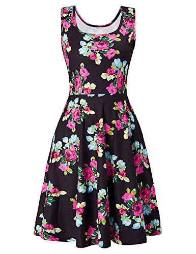 Uideazone Womens Floral Round Neck Sleeveless Tank Dress