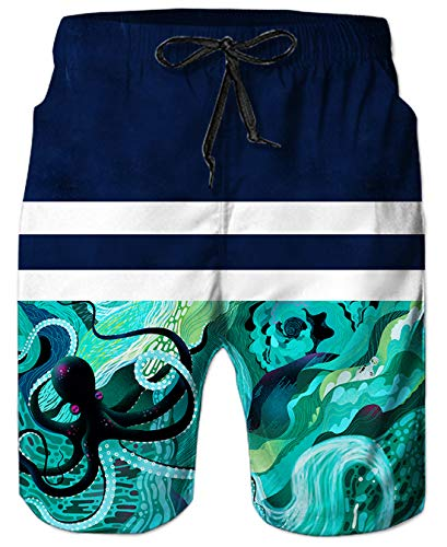 3D Geometric Graphics Octopus Swimming Shorts Trunks