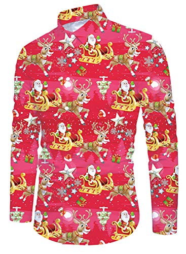 Christmas Party for Men Xmas Shirt Long Sleeve Button Down