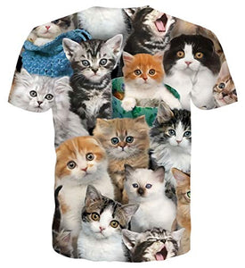 Uideazone Printed Cats Cool Graphic Tee Shirt
