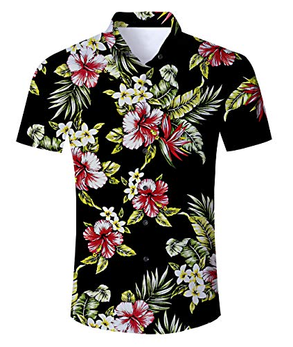Uideazone Flamingos Hawaii-black Short Sleeve Shirt