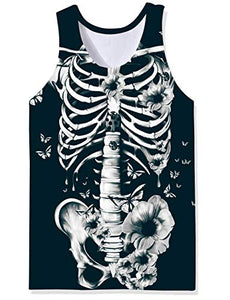Uideazone Men Sleeveless Graphic Skeleton Tee Shirt