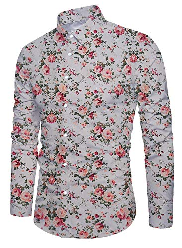 Uideazone Men's Long Sleeve Stylish Floral Dress Shirt