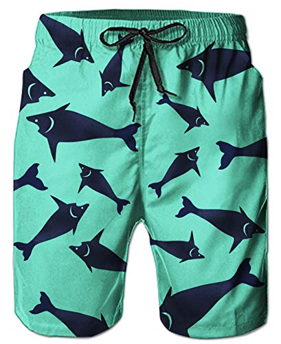 Elastic Waist Casual Fish Graphic Beach Swimming Shorts Trunks