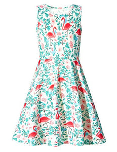 Kids Girls Print Flamingos Floral Cute Sleeveless Dress