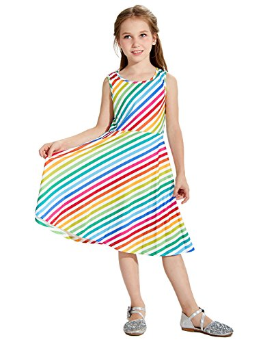 Uideazone Girls Rainbow Striped Maxi Sleeveless Dress