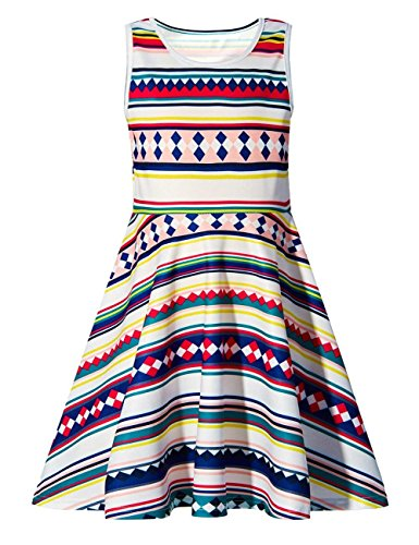 Girls Hawaiian Striped Round Neck Sleeveless Dress