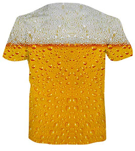 Uideazone 3D Beer Pattern Hawaii Printed T-Shirts