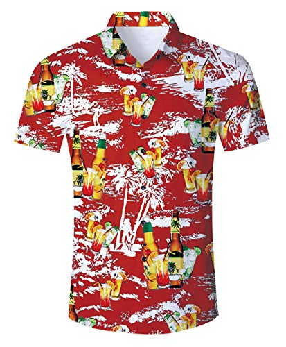 Uideazone Summer Beer Beach Hawaii Short Sleeve Shirt