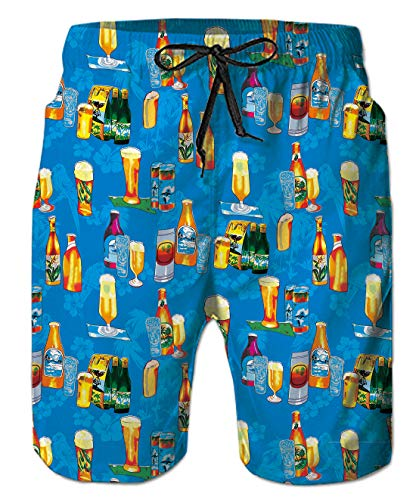 Mens Casual Blue Beer Board Surf Hawaii Shorts Beach Pants Trunks