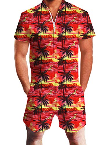 Men Haiwaiian Rompers Summer Short Sleeve Zipper Design Romper