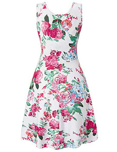 Uideazone Women's Sleeveless Summer Casual Floral Dress