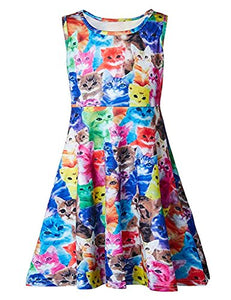 Little Girl's Cute Cats Kittens Sleeveless Round Neck Dresses