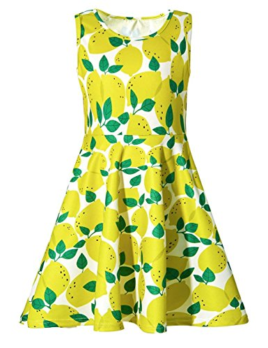 Uideazone Girls Print Lemon Sleeveless Dresses