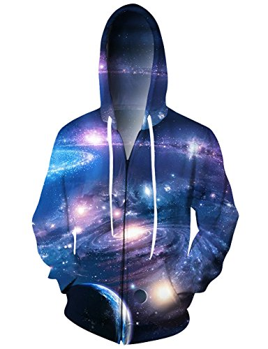 Teenager Kids 3D Printed Galaxy Stars Zipper Hoodie
